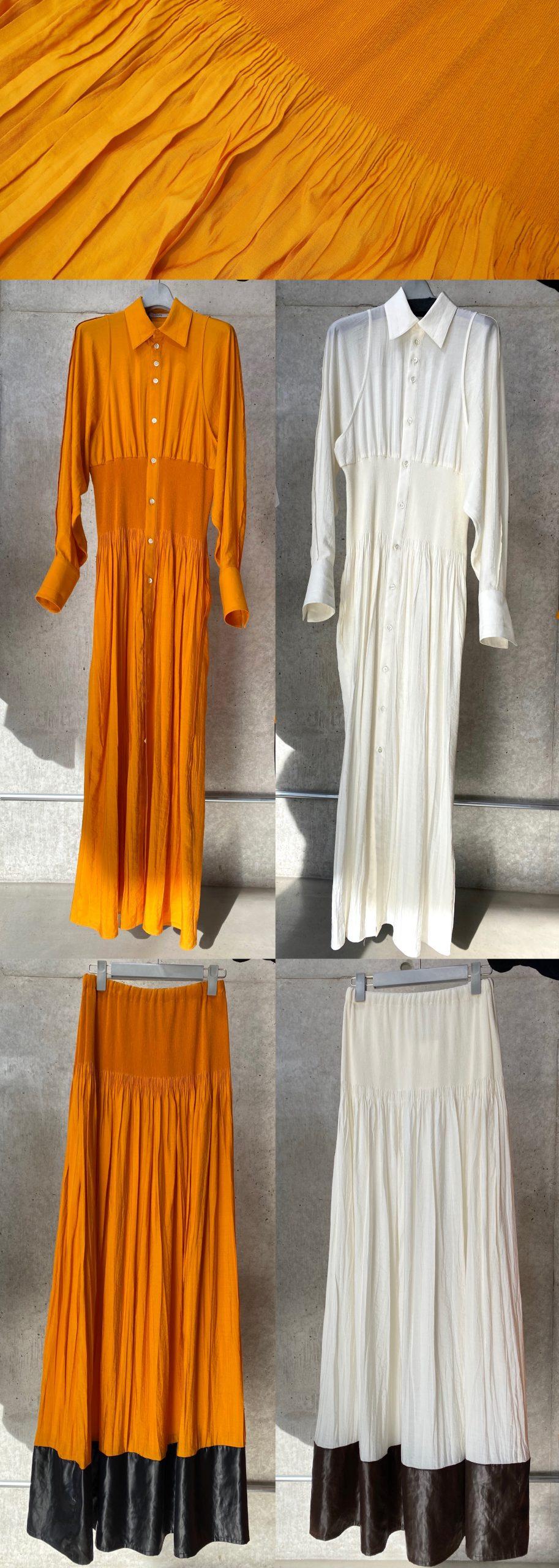 津久弘織物の生地によるワンピースとスカート。オレンジと生成り二色ある。